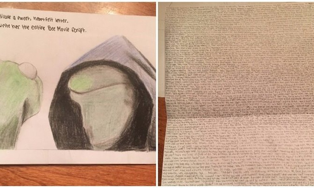 Guy Writes Out Entire Bee Movie Script In Card For Girlfriend
