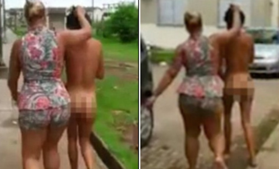 Wife Takes Husbands Mistress On Naked Walk Of Shame-3835