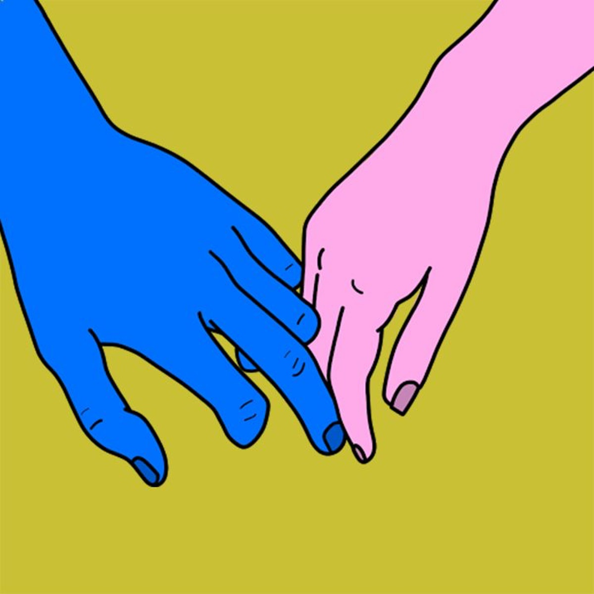 Loosely interlaced fingers is a sweet way to hold hands.