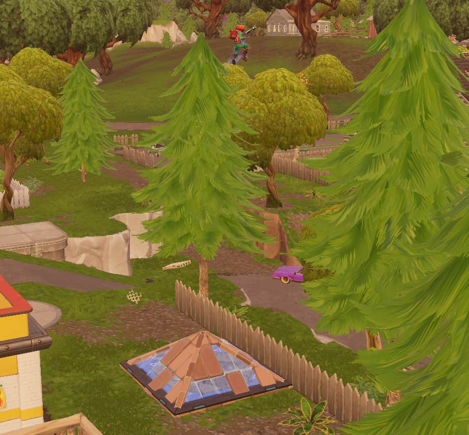 'Fortnite: Battle Royale' Bouncer trap pad with a roof built on top of it.