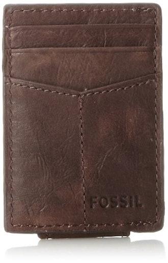 Fossil Men's Ingram Leather Magnetic Card Case Wallet
