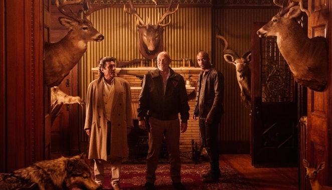 Ian McShane, Corbin Bensen, and Ricky Whittle