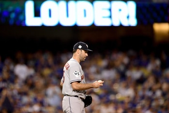 LOS ANGELES, CA - OCTOBER 25: Justin Verlander #35 of the Houston Astros looks on during the fourth inning against the Los Angeles Dodgers in game two of the 2017 World Series at Dodger Stadium on October 25, 2017 in Los Angeles, California. (Photo by Harry How/Getty Images)