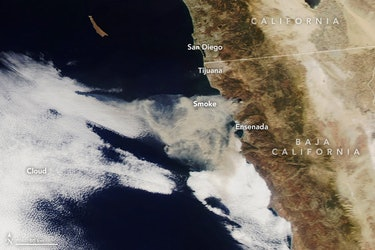 Smoke from a fire in October 2019 in Baja, Mexico, managed to travel across the region on the wind, according to NASA.