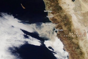 Smoke from a fire in October 2019 in Baja, Mexico, managed to travel across the region on the wind, ...