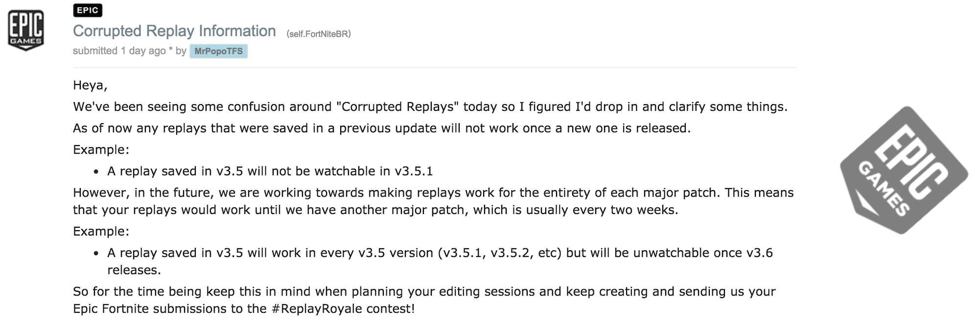 Fortnite replay system Reddit post