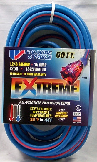 Cold Weather Extension Cord Blue with Lighted Plug