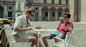 Oliver and Elio hanging out in the nearby town.