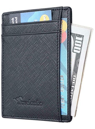 Travelambo RFID Front Pocket Minimalist Slim Wallet Genuine Leather