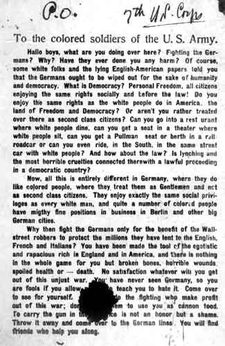 A Nazi propaganda leaflet from WWI