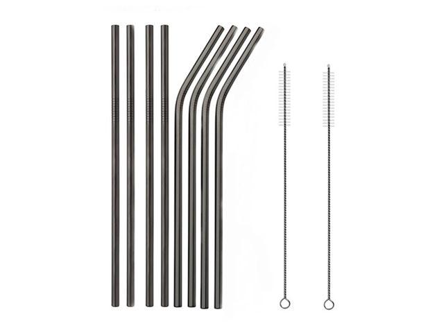 Stainless Steel Straws: 8-Pack (Black)