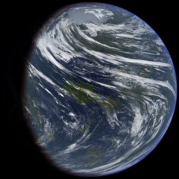 An artist's impression of what a formerly water-rich Venus may have looked like.