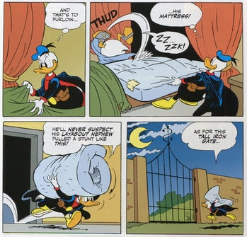 Paperinik Donald Duck Stealing Scrooge's Mattress