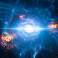 Violent merger of neutron stars gives birth to heavy chemical elements