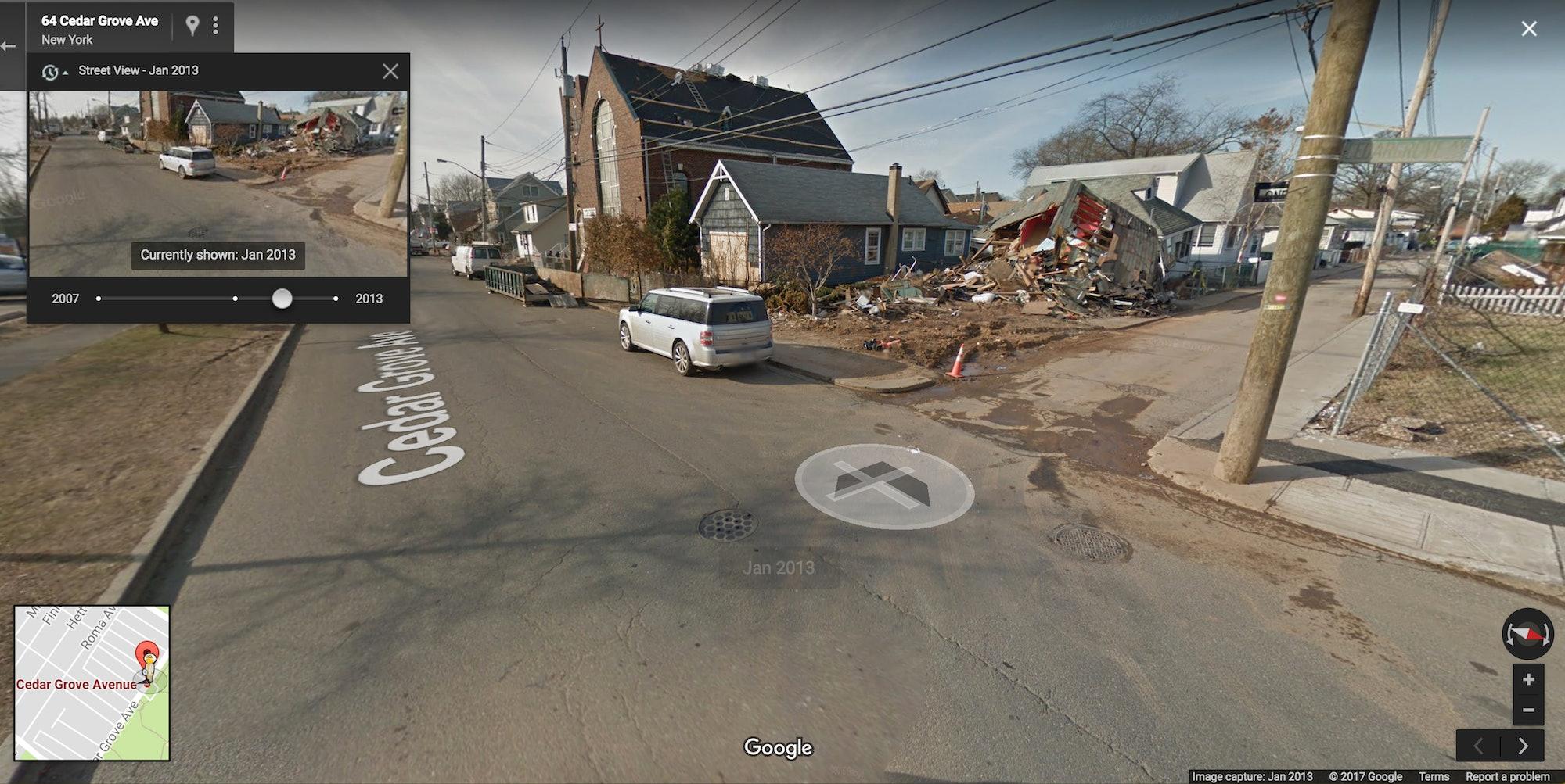 Google Street View map cars camera shoreline aftermath Hurricane Sandy