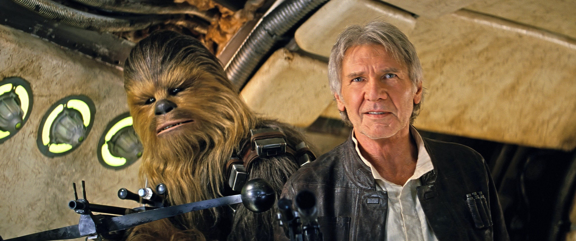 Han Solo and Chewbacca in 'The Force Awakens'.