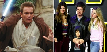 LEFT: Ewan McGregor in 1999 as Obi-Wan Kenobi in 'The Phantom Menace' RIGHT: Noel Gallagher and his family attend the premiere of 'The Force Awakens.'