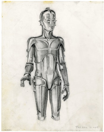 """McQuarrie's early concept art for C-3PO inspired bythe """"Maria"""" robot from 'Metropolis'."""