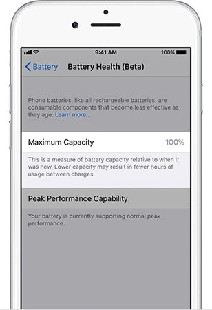 iOS 11.3 battery health screen.