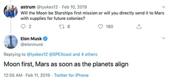 Elon Musk took to Twitter in February 2019 to lay out plans for a manned mission to Mars -- a journey that may be dependent on the orbits of Mars and Earth.