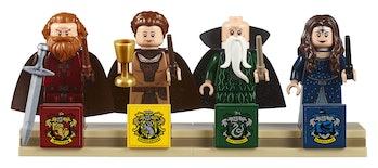 The Godric Gryffindor, Helga Hufflepuff, Salazar Slytherin, and Rowena Ravenclaw minifigures.