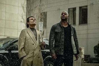 Ian McShane as Wednesday and Ricky Whittle as Shadow in Starz's adaptation of Neil Gaiman's 'America...