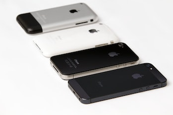 The original iPhone, iPhone 3G, iPhone 4 and iPhone 5.