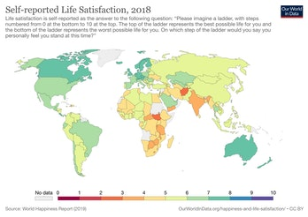 Self-reported life satisfaction, 2018.