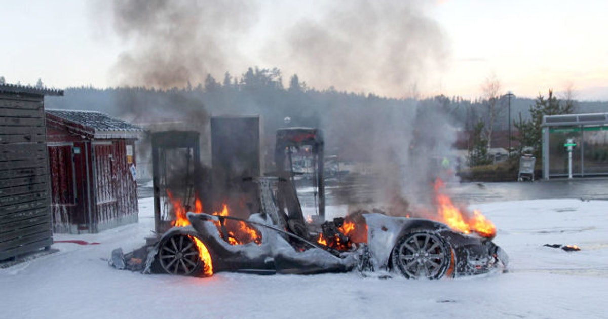 A Charging Tesla in Norway Went Up in Flames on New Year's Day
