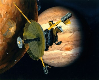 An illustration of Galileo near Jupiter and another of its moons, Io.
