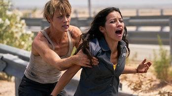 Mackenzie Davis and Natalia Reyes in 'Terminator: Dark Fate'