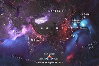 Aerosol mapping of Asia.