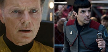 Bruce Greenwood as Pike and Zachary Quinto as Spock