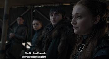 Sophie Turners as Sansa Stark on Game of Thrones.