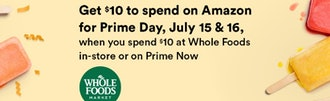 Get $10 to spend at Amazon when you shop at Whole Foods