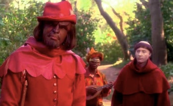 """Worf (Michael Dorn) as Will Scarlet in the 'TNG"""" episode 'Q-Pid."""""""