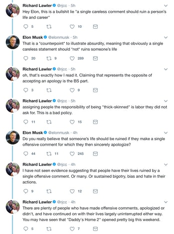 The exchange between Lawler and Musk.
