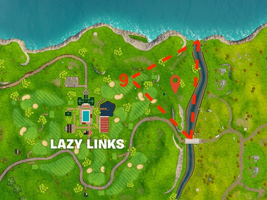 'Fortnite' Whereto Search between a covered bridge, waterfall, and the 9th green