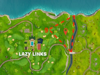 'Fortnite' Where to Search between a covered bridge, waterfall, and the 9th green
