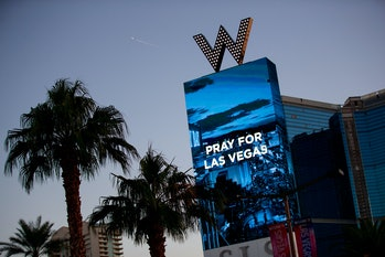 LAS VEGAS, NV - OCTOBER 2: The W Las Vegas displays a message for the victims of Sunday night's mass...