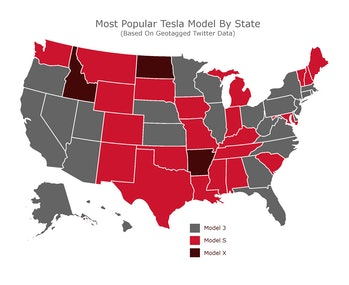 Most popular Tesla by state