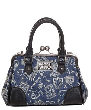 Doctor Who Scribble Art Kiss Lock Satchel Handbag