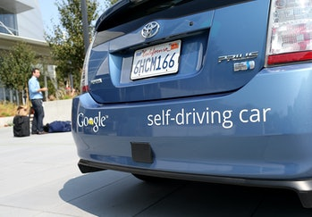 MOUNTAIN VIEW, CA - SEPTEMBER 25: A Google self-driving car is displayed at the Google headquarters ...
