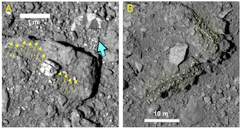 The yellow arrows in these images indicate large, flat boulders that litter Ryugu's surface.