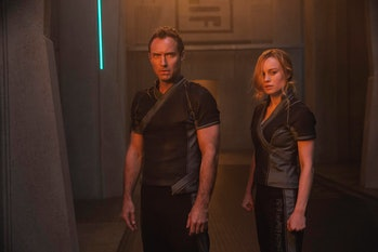 Jude Law and Brie Larson in 'Captain Marvel'.