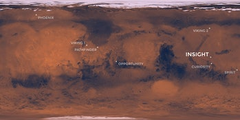 Map of previous Mars mission landing sites by NASA