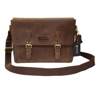 Picchio Genuine Brown Leather Messenger Bag
