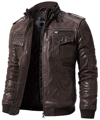 FLAVOR Retro Leather Motorcycle Jacket
