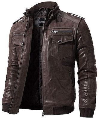 FLAVOR Retro Leather Motorcycle Jacket