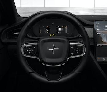 The steering wheel.